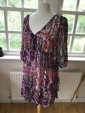 Wallis multi coloured floaty tunic top or beachwear cover up 3/4 sleeve L