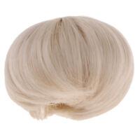 "1/8 Mini BJD Doll Short Hair 5-6"" Beige Wig for MSD DZ SD Dollfie Supplies"