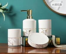 4pcs Bathroom Accessories Set Soap Dish Dispenser White Marble Ceramic