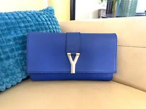 Saint Laurent YSL Blue Clutch Calfskin Leather Bag Purse