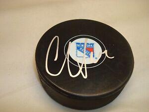 Oscar Lindberg Signed New York Rangers Hockey Puck Autographed 1B