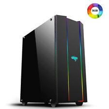 Case Gaming Aigo F10 4*USB3.0/2.0 Front 2*Strip RGB Rainbow Laterale in Vetro