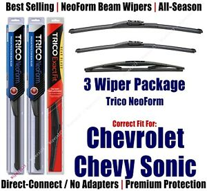 3pk Wipers Front Rear NeoForm 2012+ Chevrolet Chevy Sonic 162613/1515/10E