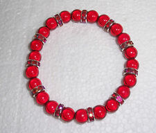 Red Miracle Bead Stretch Bracelet with Red Rondelles Fashion Jools HandmadeR