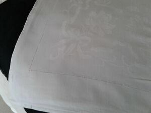 "Antique/Vintage White Cotton Damask Tablecloth.Drawn Thread Border.60""x 78"""