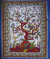 Blau weiss rot Baum des Lebens XL Sofa Bett Tagesdecke überwurf Tapestrie Kunst