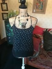 C&A CLOCKHOUSE Ladies Dip Hem Navy Black Floral Layered Strappy Top Size XS NEW