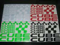 CUBE Cycling Stickers Decals Custom Sizes Colours Frame Fork MTB Road Bike