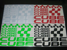 CUBE Cycling Stickers Decals Set Various Colours Bike Frame Fork MTB Road Helmet