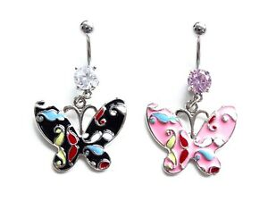 Belly Navel Bar Butterfly Button Ring Surgical Steel Double Crystal Gem