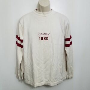 T Dalton Mens Bone Stripe Crewneck Sweater Large White Red Lake Placid 1980