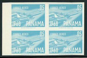 PANAMA MNH Specialized: Scott #C240 5c Blue B-707 Jet (1960) IMPERF Block $$$