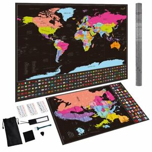Scratch Off World Map Poster + BONUS Europe Map Detailed Travel Map with Flags