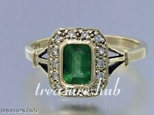 C657-Genuine 9K 9ct Gold Natural EMERALD & DIAMOND Engagement Ring in your size