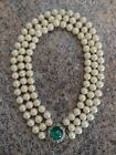 Vintage  Ciner Signed Three Strand Faux Pearl Necklace With Ornate Clasp
