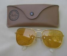 Vintage 1970's Ray Ban B&L Caravan Ambermatic Square Yellow Aviator Sunglasses
