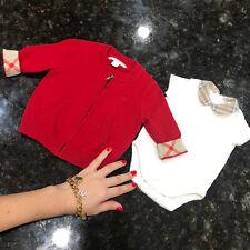 0-6 Months Authentic Burberry Baby Girls Bys Jacket Zip-up Bodysuit Cardigan Top