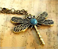 5 X necklace chain pendant vintage dragonfly blue turquoise retro women