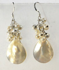 NY6DESIGN Natural White Mother of Pearl Teardrop Silver Earring(ER209)a A1