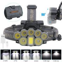 120000LM 8X XM-L T6 COB LED USB Stirnlampe 18650 Kopf Fackel Fahrrad Licht 800m