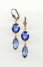 BEAUTIFUL SAPPHIRE BLUE ETCHED Carved cut-crystal Earrings 14K Gold gp Vtg Czech
