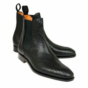 Men Chelsea Casual Black Leather Dressy Jumper Ankle Boots