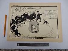 pre WW2 POLITCAL CARTOON original printed plate from folio BANK OF ENGLAND  1932