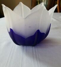 Partylite Cobalt Blue Frosted Tulip Candle Holder 6 1/2 Used No Box