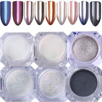 6 Pcs BORN PRETTY 1g Mirror Nail Art Glitter Powder Chameleon Silver Black Dust