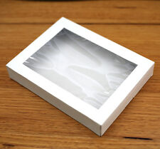 x100 ONE PIECE WHITE WINDOW BOX - for cookies slices macarons biscuits packaging