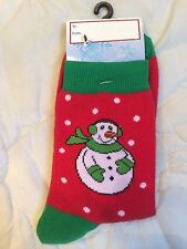 Lady's Sock Snowman Christmas Socks XmasFrosty the Snowman Brand New Sz 9-11