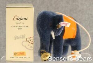 Steiff 2007 Club Renewal Gift Miniature Blue Elephant With Bell 9cms Ean 420603