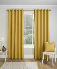 PAIRS OF GEOMETRIC OCHRE MUSTARD GOLD BOHEMIAN EYELET BLOCK OUT THERMAL CURTAINS