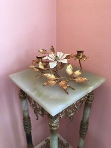 MID CENTURY ITALIAN TOLE GOLD LEAF CANDLE HOLDER WHITE LILY HAS LABEL