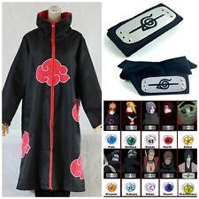 Naruto Akatsuki Robe Cloak Itachi Uchiha Costume Anime Cosplay Headband Ring