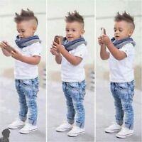 3pcs Baby Kid Toddler Boys T-shirt Top+Denim Pants+Scarf Outfit Clothes Set Suit