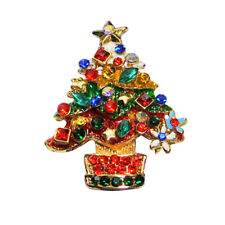 Merry Christmas Tree Stretch Ring ~Sparkling Multi-Color Crystals~