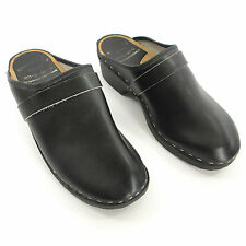 Toffeln Clog 43 EUR 10.5 US Black Leather Wood Nurse Karlskoga Tratoffelfabrik