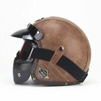 Leather Helmets 3/4 Motorcycle Chopper Bike Helmet Open Face Vintage Motorcycle
