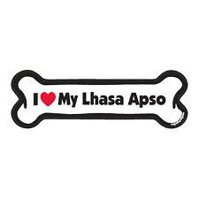 I Love My Lhasa Apso Dog Bone Car Magnet