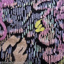 VINTAGE FABRIC QUILT CRAFT SEW DRESS FAB ART DECO SCRIBBLE COTTON VELVET 1970S