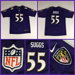 Kids TERRELL SUGGS Baltimore Ravens Authentic Nike Purple YOUTH Jersey - Large