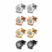 2/6/8pcs Stainless Steel Roman Numerals CZ Ear Stud Earrings for Men Women