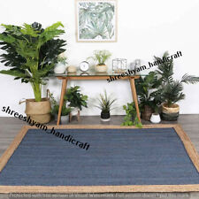 """2x3"""" Natural Jute Rectangle Rug Indian Handmade Handwoven Ribbed Solid Area Rug"""