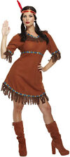 Red Indian Woman Squaw Pocahontas Fancy Dress Costume P8020