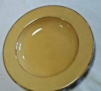 "Pier 1 Toscana Gold 9 1/4"" Soup Bowl Earthenware Brown Trim Rim Edges Italy"