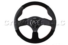 NRG Sport Steering Wheel Black Suede w/ Red Stitching - 320 mm - Part # ST-012RS