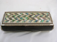 "Egyptian Inlaid Handmade Mother of Pearl Pen Holder Box 7.75"" #228"