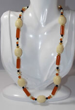 Plastic Bead Strand Faux Carved Bone Black Onyx Amber Color Necklace 4f 24