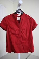 Talbots Stretch Cotton Blend Red Short Sleeve Button Down Shirt Size - PM